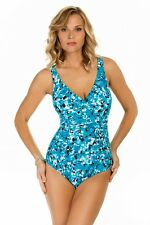 Swim Solutions One Piece Jungle Jewels Twist Maillot Size 18 Swimsuit (K2)