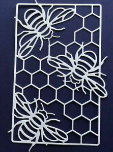 4 Beautiful Bees And Honeycomb Die Cut Out Toppers For Card Making