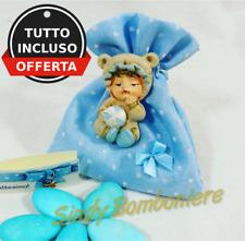 Bomboniere per nascita battesimo sacchetti magnete bimbo con confetti celesti