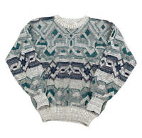 VTG Gray Abstract Ugly Pullover Sweater 80s Geometric Cosby Method Men's L