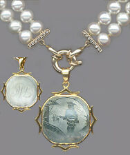 HEAVY 14k Fine PENDANT-PERSON SCENE ANTIQUE CHINESE MOTHER O'PEARL GAME COUNTER
