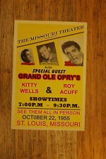 Johnny Cash Tour Poster 1955 Elvis Presley Saint Louis Missouri Kitty Wells Roy