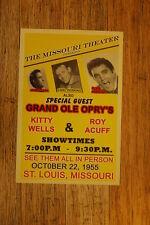 Johnny Cash Tour Poster 1955 Elvis Presley Saint Louis Missouri Kitty Wells Roy