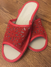 Ladies 100% Leather Slippers Handmade in Poland