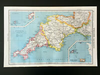 Vintage Map Of England South West Devon Cornwall 1952