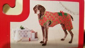 NIP Wondershop Christmas Present Dog Pajamas Red & Green HOHOHO - Sz M (50+lbs)