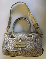 GUESS Purse Handbag Animal Print Canvas Shimmering Greenish Gold Tone Hardware