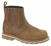 Mens Leather Goodyear Welted Slip On Chelsea Dealer Safety Ankle Boots Shoes