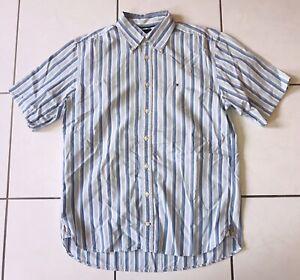 Tommy Hilfiger Hemd Gr. M Herren Kurzarm Poloshirt Sweatshirt T-Shirt Blau 90s
