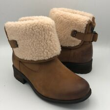 UGG Aldon Chestnut Short Cuff Leather Ankle Boots Winter Women's Shoes Sz 7.5
