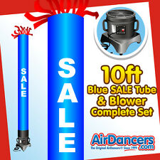 New listing Blue Sale Tube Air Dancer & Blower Complete Set 10ft Inflatable Advertising