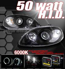 99 00 HONDA CIVIC DUAL HALO PROJECTOR HEADLIGHT+HID 50W XENON KIT LAMP JDM BLACK