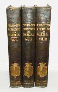 1848 Prescott HISTORY of the REIGN of FERDINAND & ISABELLA 3 Vols PLATES