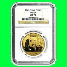 2011 CHINA 500Y 1 OZ GOLD PANDA NGC MS 70 RARE 1
