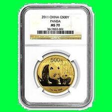 2011 CHINA 500Y 1 OZ GOLD PANDA NGC MS 70 RARE 1