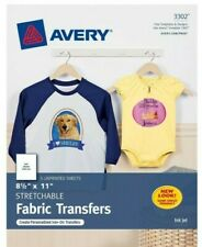 """Avery 3302 Stretchable Fabric Transfers 8.5×11"""" for Inkjet Printers 5 Sheets New"""