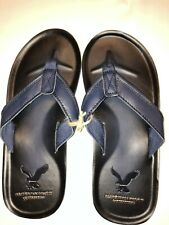 American Eagle Size 10 Men's Sandals Navy Leather Upper Flip Flops Thongs