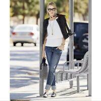 CAbi Women's Style #5165 Distressed Slim Boyfriend Jean Mid Rise, Size 10