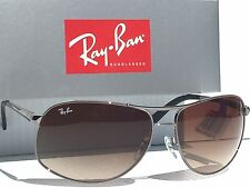 NEW* Ray Ban AVIATOR SILVER 64mm w Bronze Blue Gradient Sunglass RB 3387 003/68