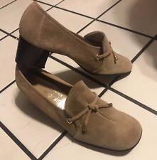 8.5 Vtg 70s Jc Penney Mod Suede Pumps Shoes Marcia Brady Bunch Barbie Style !