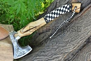 VIKING AXE Custom handmade Carbon Steel Hatchet Axe Beautiful For Gift To Him