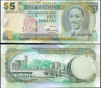 BARBADOS BILLETE 5 DOLLARS. 02.05.2012 LUJO. Cat# P.67c