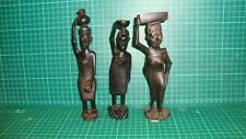Africa African Tribal Art Statue woman 3 statues Ebony wood wooden sculpture