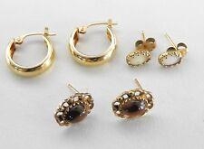 Lot Vintage Earrings Solid 14k Yellow Gold Dainty Peirced Tigers Eye Women Stone