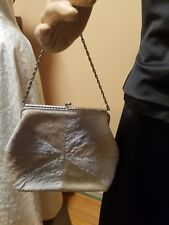 Vintage beaded cream white purse silver clasp Made in Hong Kong