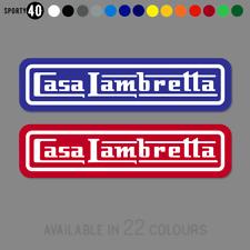 2 x CASA LAMBRETTA Vinyl Stickers Decals, Scooter Lambretta 150mm wide 7378-0119