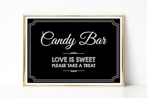 Wedding Party 'Candy Bar' Sweet Table Sign A4 Chalkboard Style