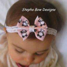 Pink Panda dainty Hair Bow Lace headband fits Preemie Newborn 2 Toddler So Cute