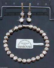 Bracciale Tennis oro 24k, con orecchini lunghi donna,braccialetto bianco SW3