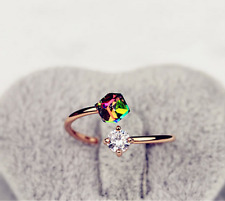 Fashion Women Lovely Multicolor Crystal Gold Filled Engagement Ring Jewelry ~!!