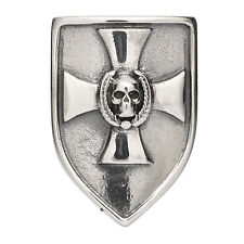 Shield with Cross + Skull Coat of Arms Charm rebeligion Silver Black Rock Large