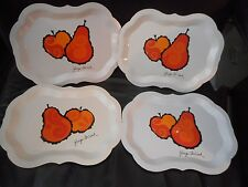 """Set Of Four """"Georges Briard"""" Signed """"Tole De Lys"""" Individual Enamel Metal Trays"""