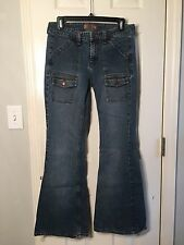 L. E. I.  Size 7 Cargo Style Unique And Eye-Catching FLARE Blue Jeans