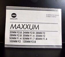 Minolta Maxxum Lens Guide 35mm f1.4 100mm 28mm f2.0 AF Macro 85m f1.4 Manual