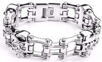 Men's Stainless Steel Double Link Skull Silver Bike Chain Bracelet USA Seller!