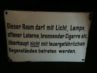 Esta Espacio Darf con Luz Señal de Prohibición Aviso Esmalte Zuckerguß Di. 1930