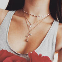 Boho Multilayer Lady New Design Crystal Cupid Heart Rose Flower Pendant Necklace