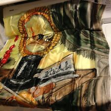 """Vtg. Lord & Taylor Silk Scarf Hand Stitched Magician Theatre? Black Gold Red 30"""""""