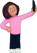 Selfie (brunette female girl) Christmas Ornament Free Shipping