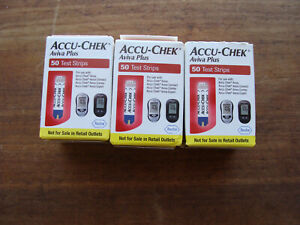 3 Boxes Accu-Chek Aviva Plus Diabetic Blood Glucose Test Strips, expired