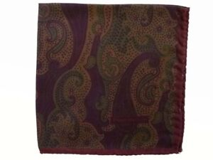 Zegna Pocket Square Muted brown &  dark olive paisley, pure silk