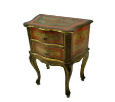 Florentine Nightstand End Table Hall Cabinet Chest of Drawers Gold Orange Retro