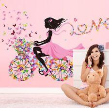 Butterflies Bicycle Girl Wall Stickers Vinyl DIY Mural Art Kids Room Decor New