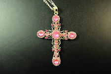 LADIES SILVER / PINK CROSS  ABSTRACT NECKLACE CHUNKY STONES UNIQUE ITEM(CL10/SR)