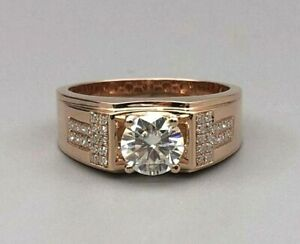 Solid 14K Gold Jewelry Men's Created Diamond With Side Accents Real Diamond