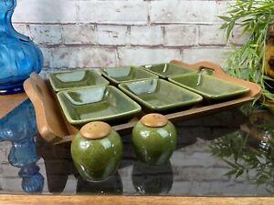 Vintage Mid Century Jie Gantofta Pottery Dishes & Salt & Pepper Cruet Teak Tray